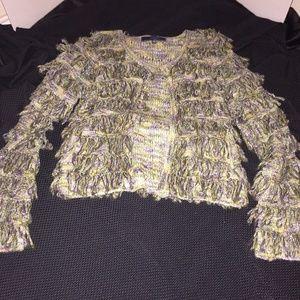 Anthro Lumiere Shaggy Tiered Yarn Sweater S Multi